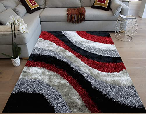 Red Black Silver Colors Two Tone 8 x10 Feet Shag Shaggy 3D Carved Area Rug Carpet Rug Indoor Bedroom Living Room Decorative Designer Modern Contemporary Plush Pile Polyester Made Canvas Backing
