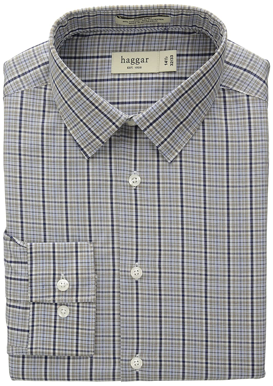 97f8b884d7a Haggar Men s Mechanical Stretch Glen Plaid Fancy Poplin Long Sleeve Shirt