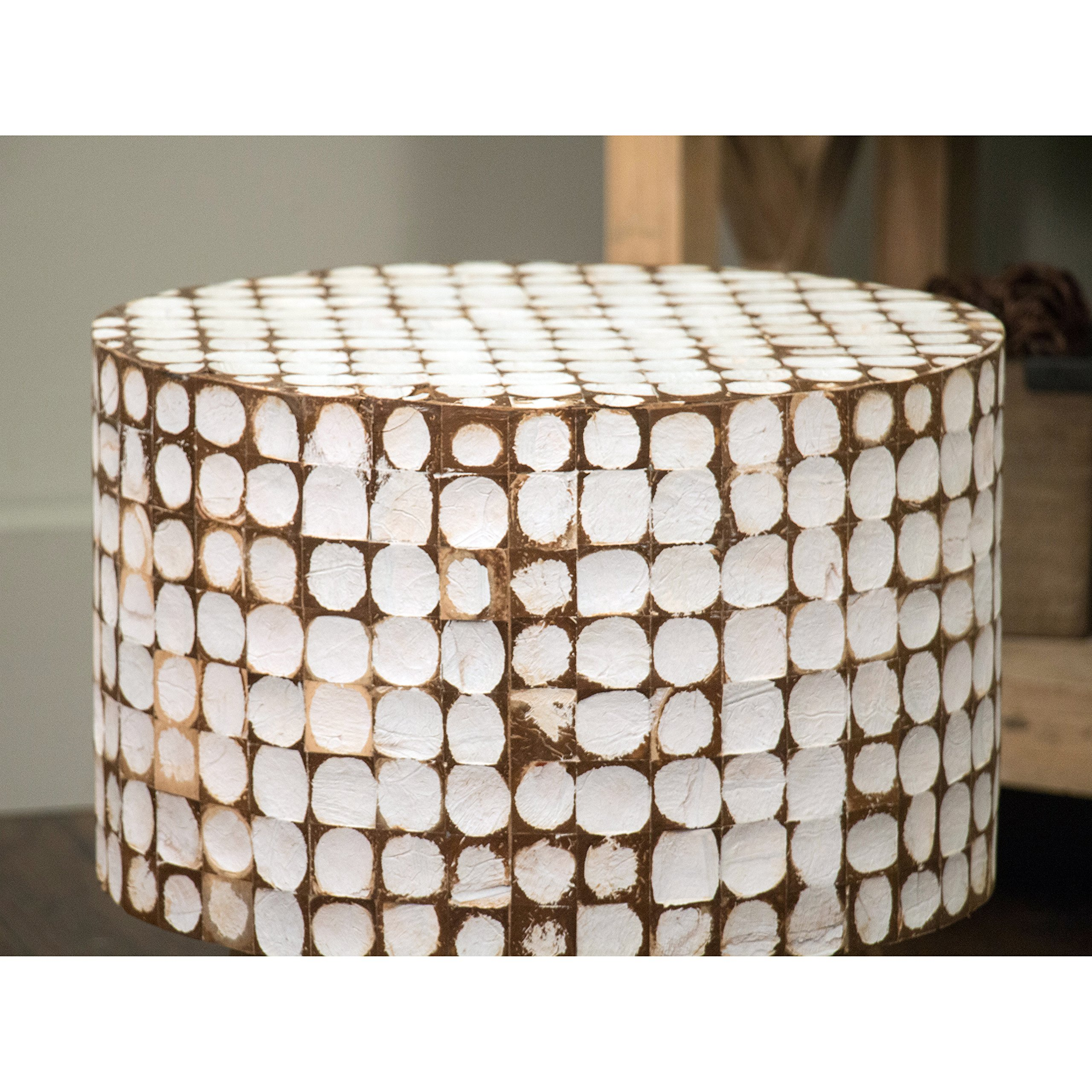 Urban Geometric Distressed White Coconut Chips Stool Ottoman