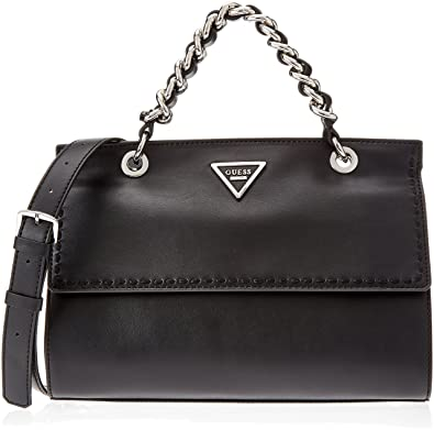 Guess Women s Sawyer Black Chain Crossbody Satchel Handbag  Handbags   Amazon.com 14f31fcbe46a0