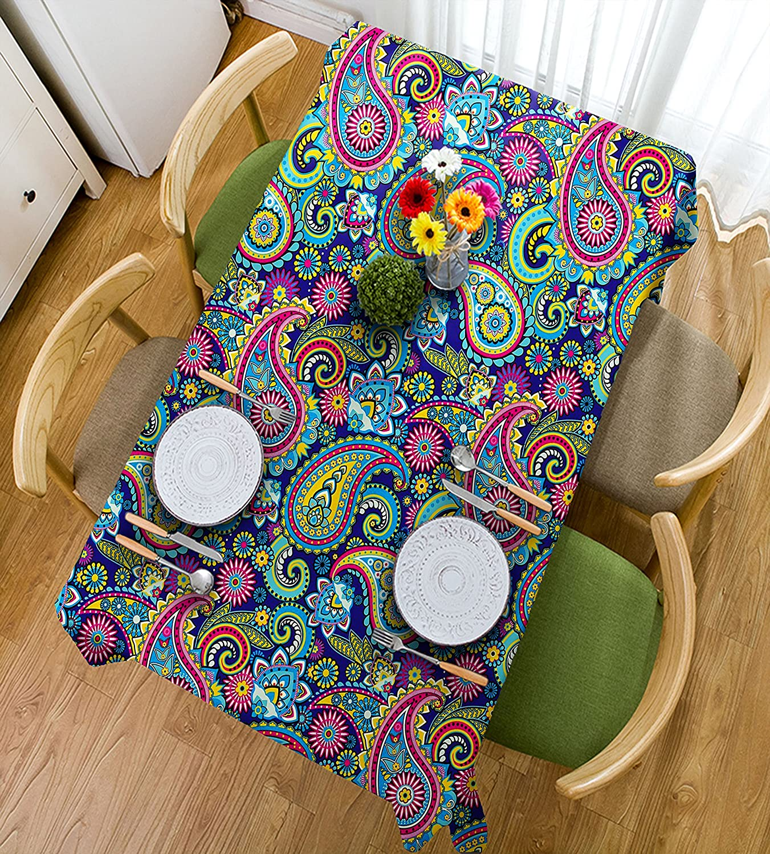 HAIXIA Mantel con diseño de cachemira, diseño de flores orientales, estilo vintage, color rosa, azul y amarillo, 55inch70inch