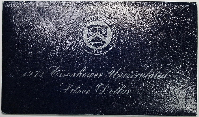 1971 S SILVER Ike Dollar Blue Eisenhower BU 40/% Silver Coin /& US Mint Envelope