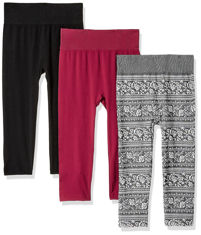 WallFlower Women's Hi Waist Capri Length 3-Pack Legging Grey/White S/M W9H10541T