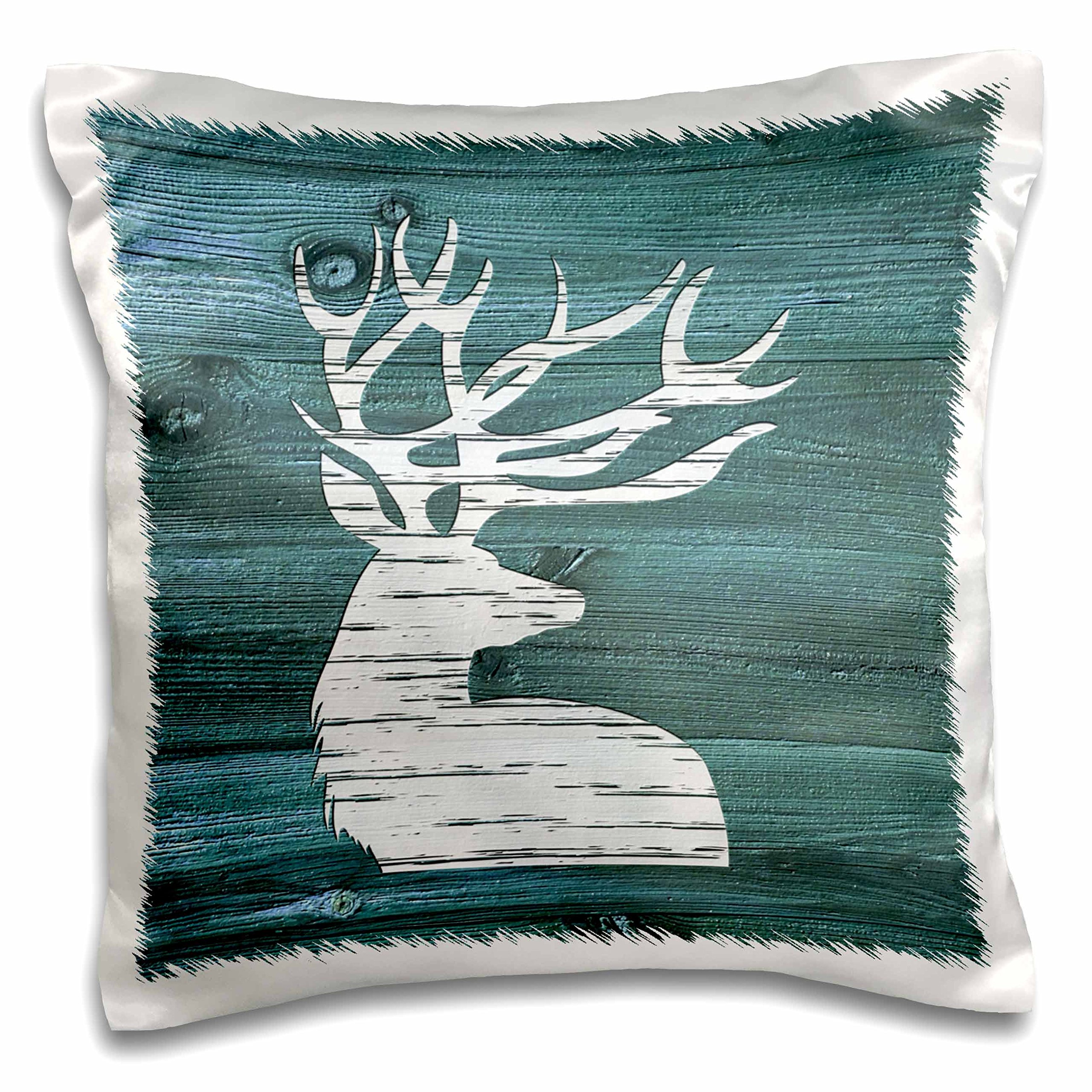 3dRose White Painted Stag with Antlers on Blue Weatherboard-Not Real Wood Pillow Case, 16 x 16''