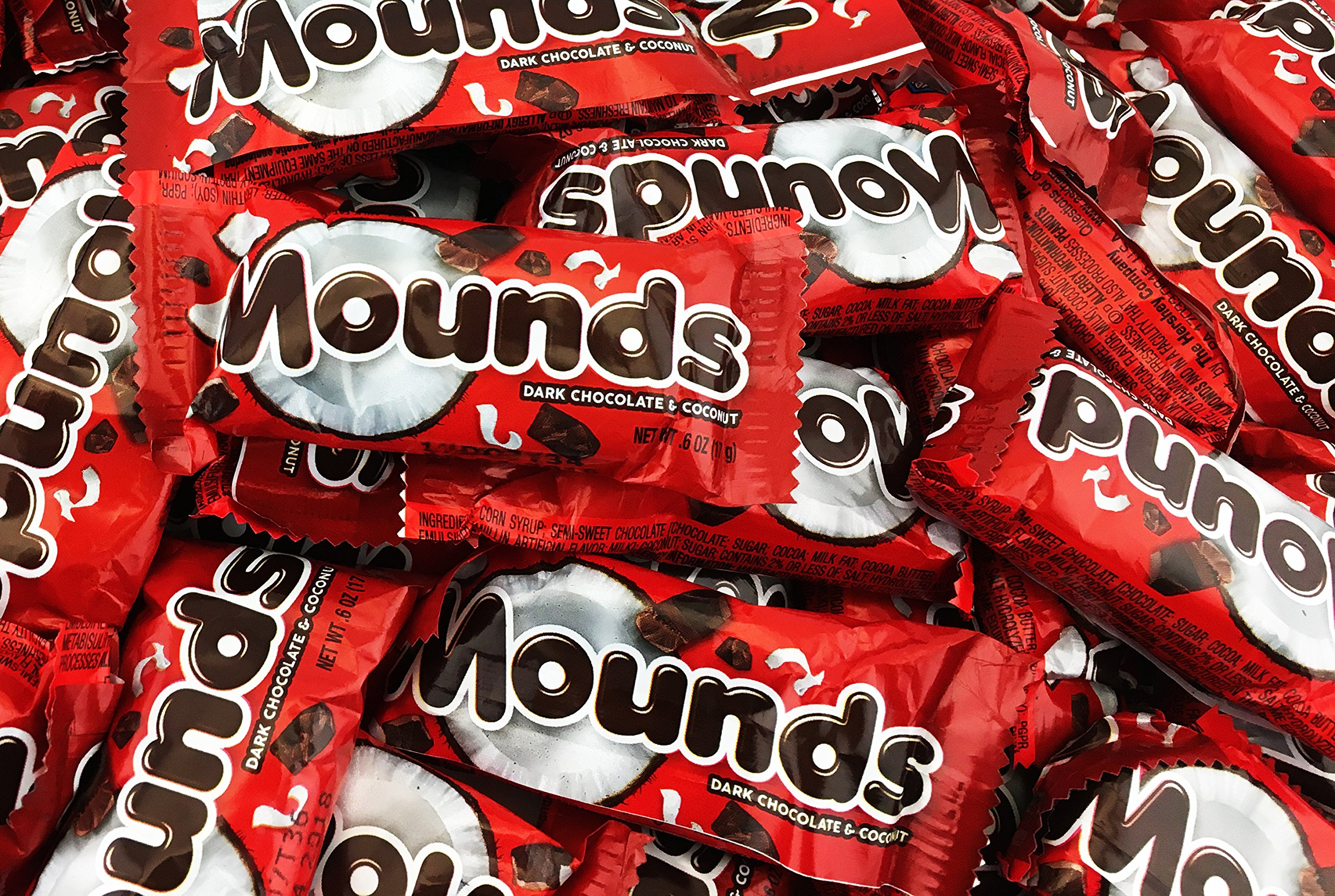 Mounds Dark Chocolate Coconut Filled Snack Size Treats, 0.6 Ounce (Pack of 3 Pounds)