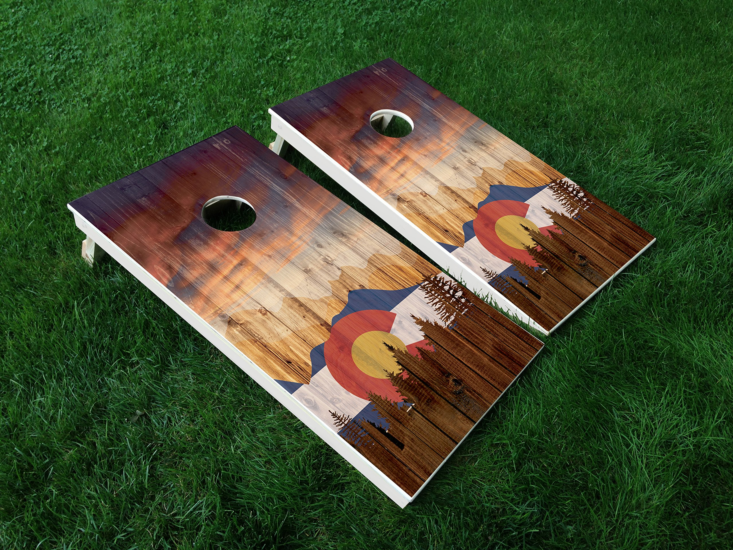 DISTRESSED Colorado 06 Colorado State FLAG CORNHOLE WRAP SET Vinyl Board DECAL Baggo Bag Toss Boards MADE IN the USA