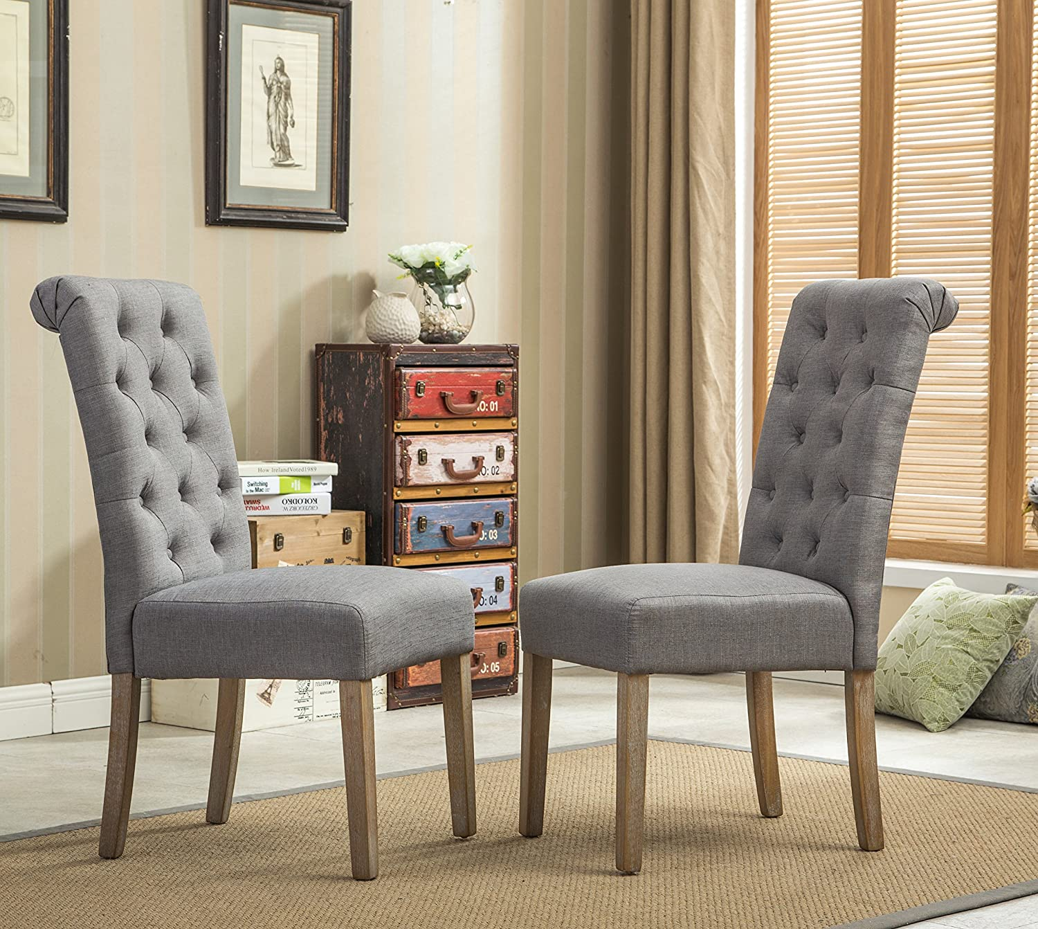 Attractive Amazon.com   Roundhill Furniture Habit Grey Solid Wood Tufted Parsons Dining  Chair (Set Of 2), Gray   Chairs