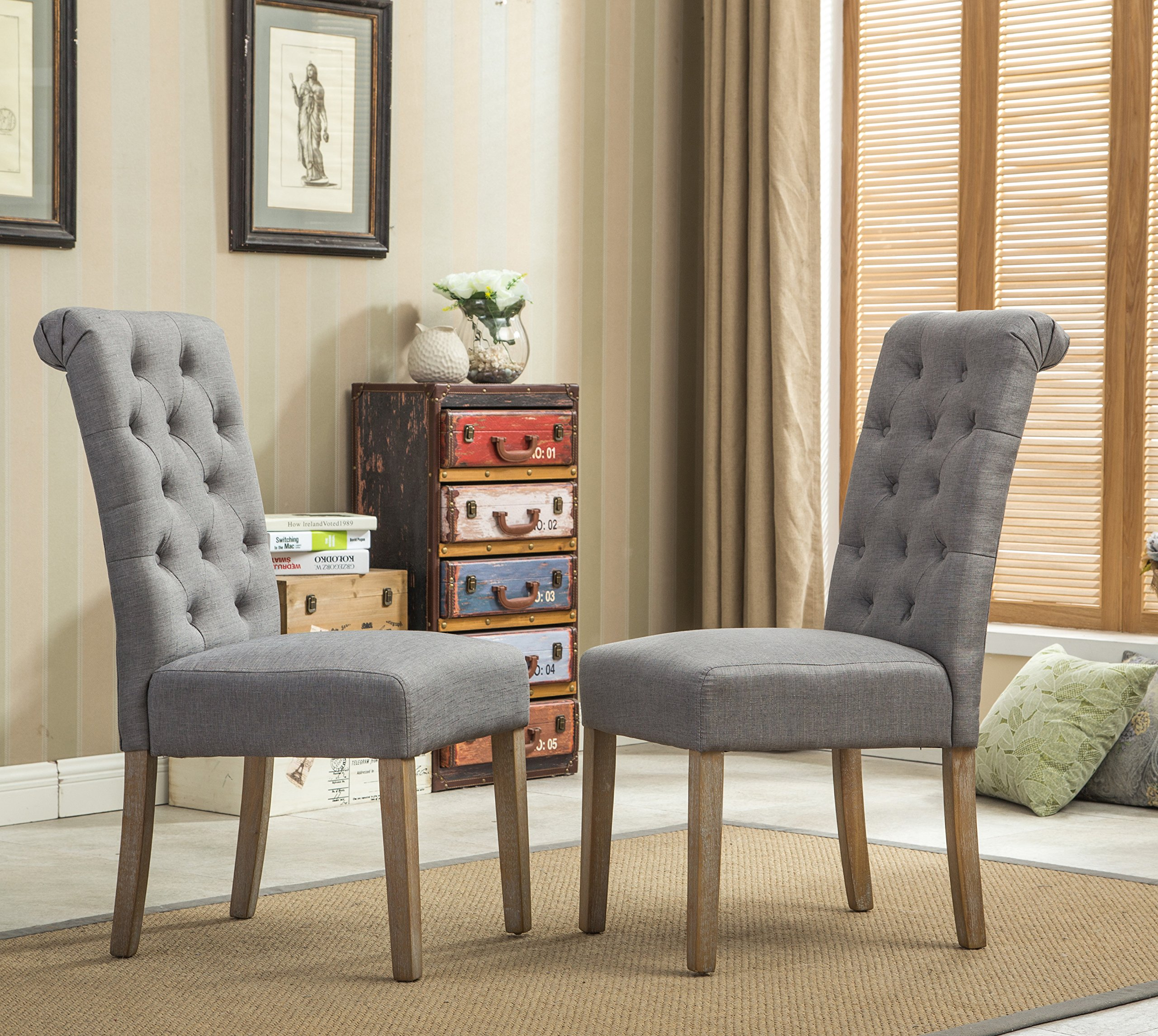 Roundhill Furniture Habit Grey Solid Wood Tufted Parsons Dining Chair (Set of 2), Gray by Roundhill Furniture