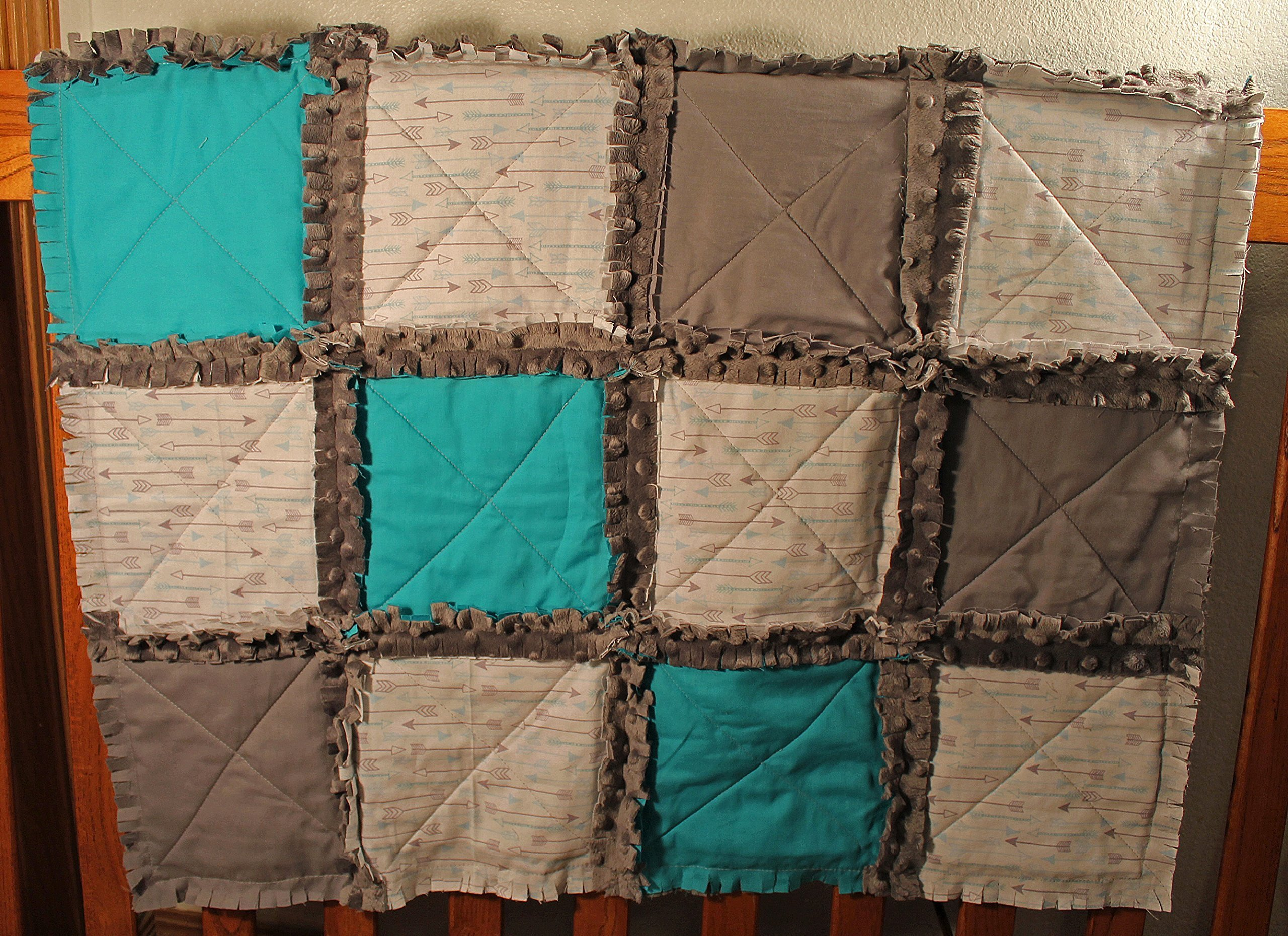 Arrow Themed Crib Rag Quilt, Arrow Baby blanket, Baby quilt, Baby shower gift