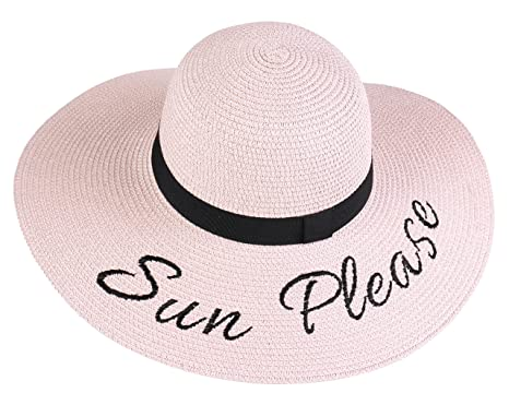 b1c190d4 Kaisifei Beach Embroidered Quote Floppy Brim Sun Hat (Pink) at Amazon  Women's Clothing store: