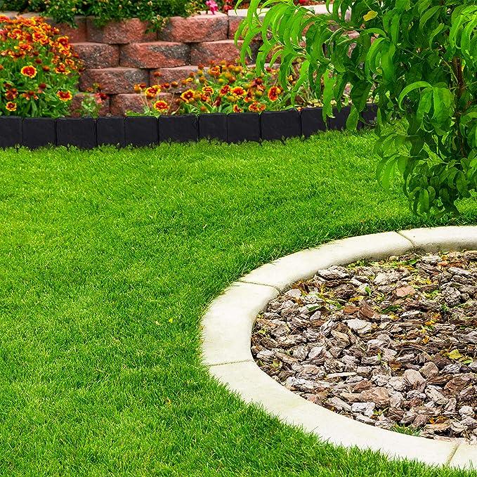 Relaxdays, Gris Oscuro Valla de jardín Decorativa, Set de 10 bordillos para césped, Estrecho, 10 cm, 10er Pack: Amazon.es: Jardín