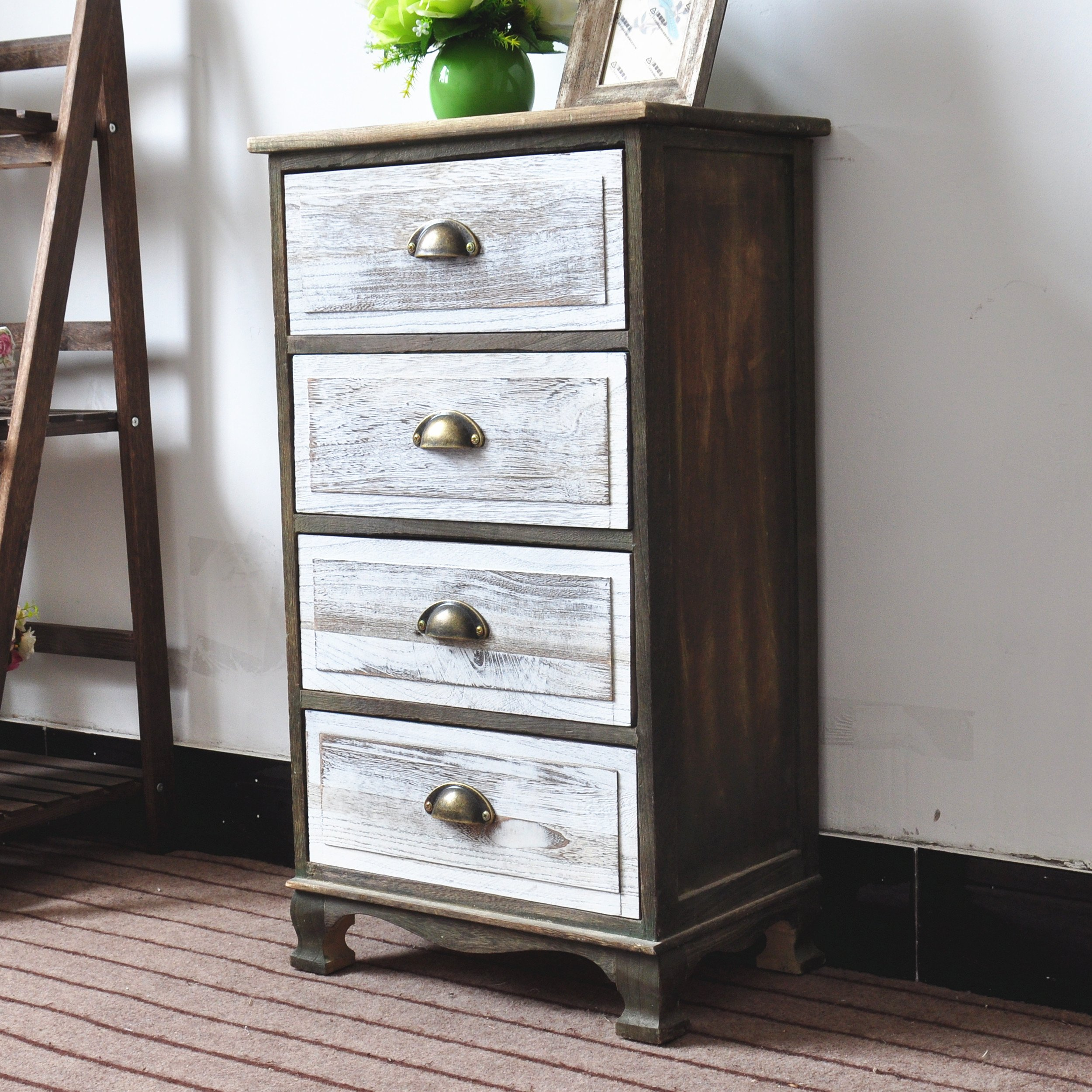 DL furniture - Fully Assembled 2 Tone Finish Night Stand End Table Storage Wood Cabinet | 4 Drawers