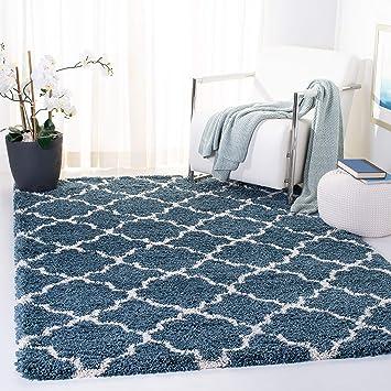Amazon Com Safavieh Hudson Shag Collection Sgh282l Moroccan Trellis 2 Inch Thick Area Rug 8 X 10 Slate Blue Ivory Furniture Decor
