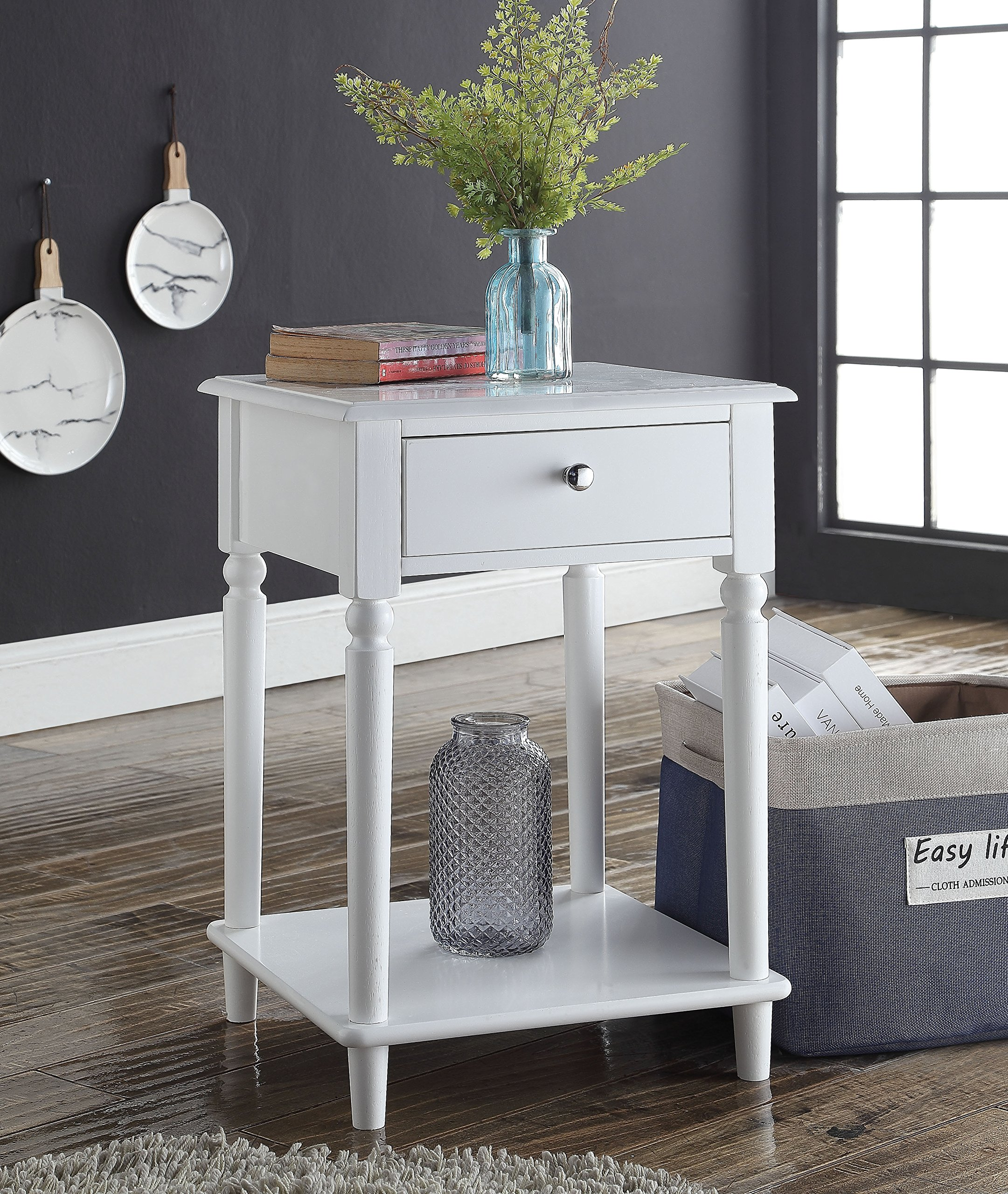 White Finish Wooden Turned Legs Nightstand Side End Table with Drawer by eHomeProducts