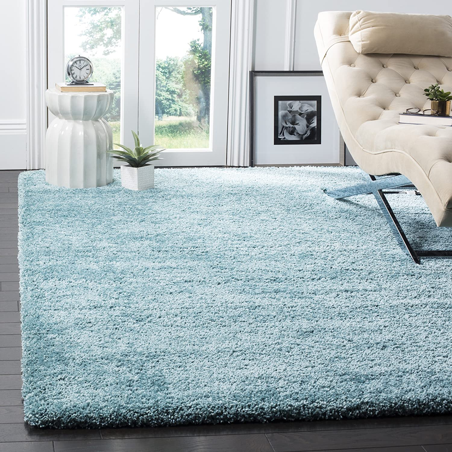 Safavieh Milan Shag Collection SG180-6060 2-inch Thick Area Rug, 7' Square, Aqua Blue