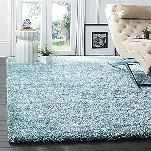 "Safavieh Milan Shag Collection SG180-6060 2-inch Thick Area Rug, 5' 1"" x 8', Aqua Blue"