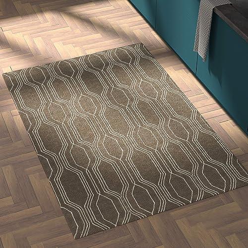Rivet Steel Slanted Lines Wool Modern Area Rug, 4 x 6 Foot