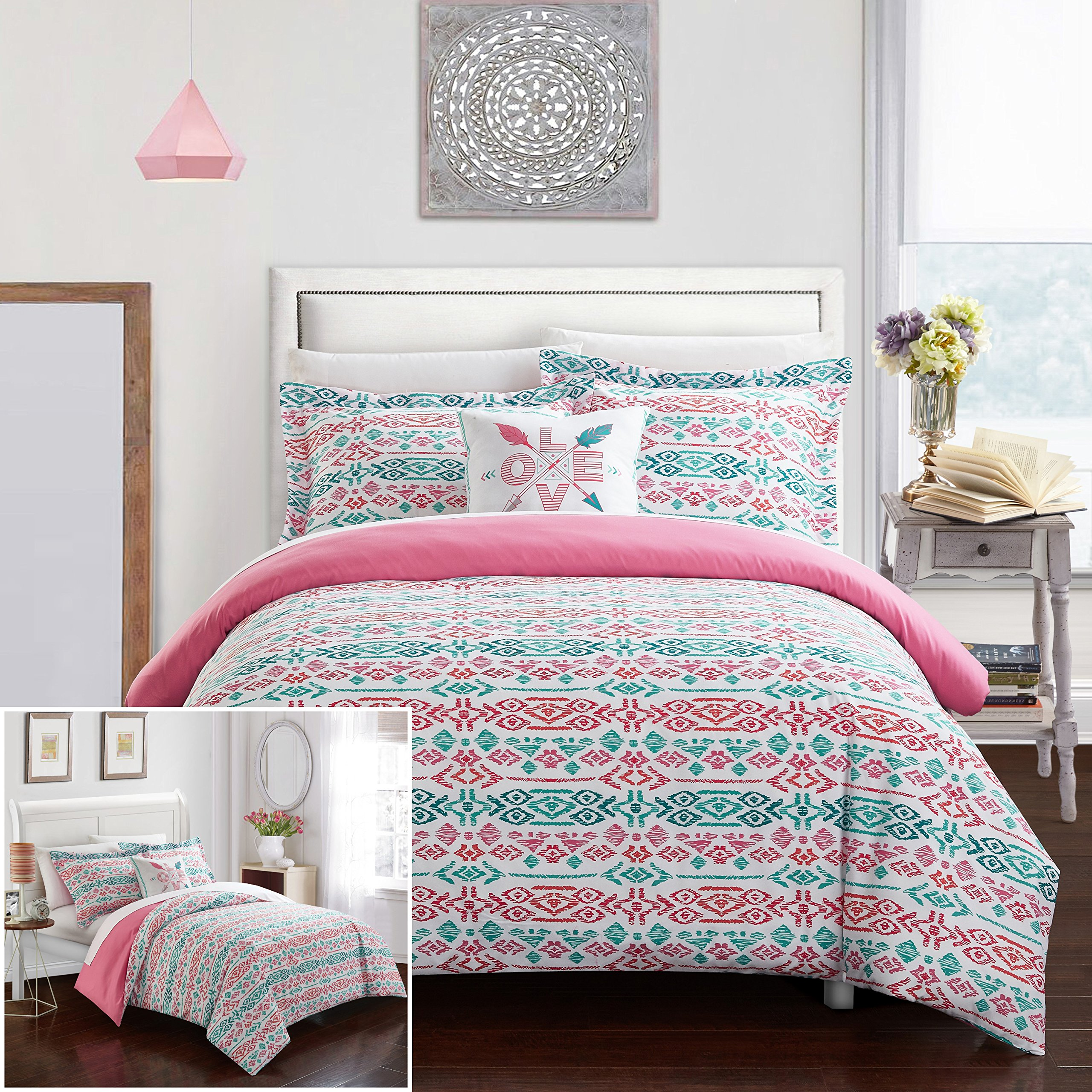 Chic Home 3 Piece Malina REVERSIBLE Ikat bohemian designer printed duvet and shams set, includes LOVE pillow Twin Duvet Cover Set Aqua