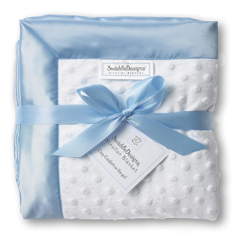 SwaddleDesigns Stroller Blanket, Plush Dots and Baby Velvet, Pastel Pink SD-179PP