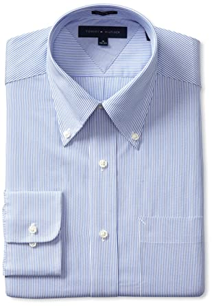 Tommy Hilfiger Men's Striped Dress Shirt at Amazon Men's Clothing ...