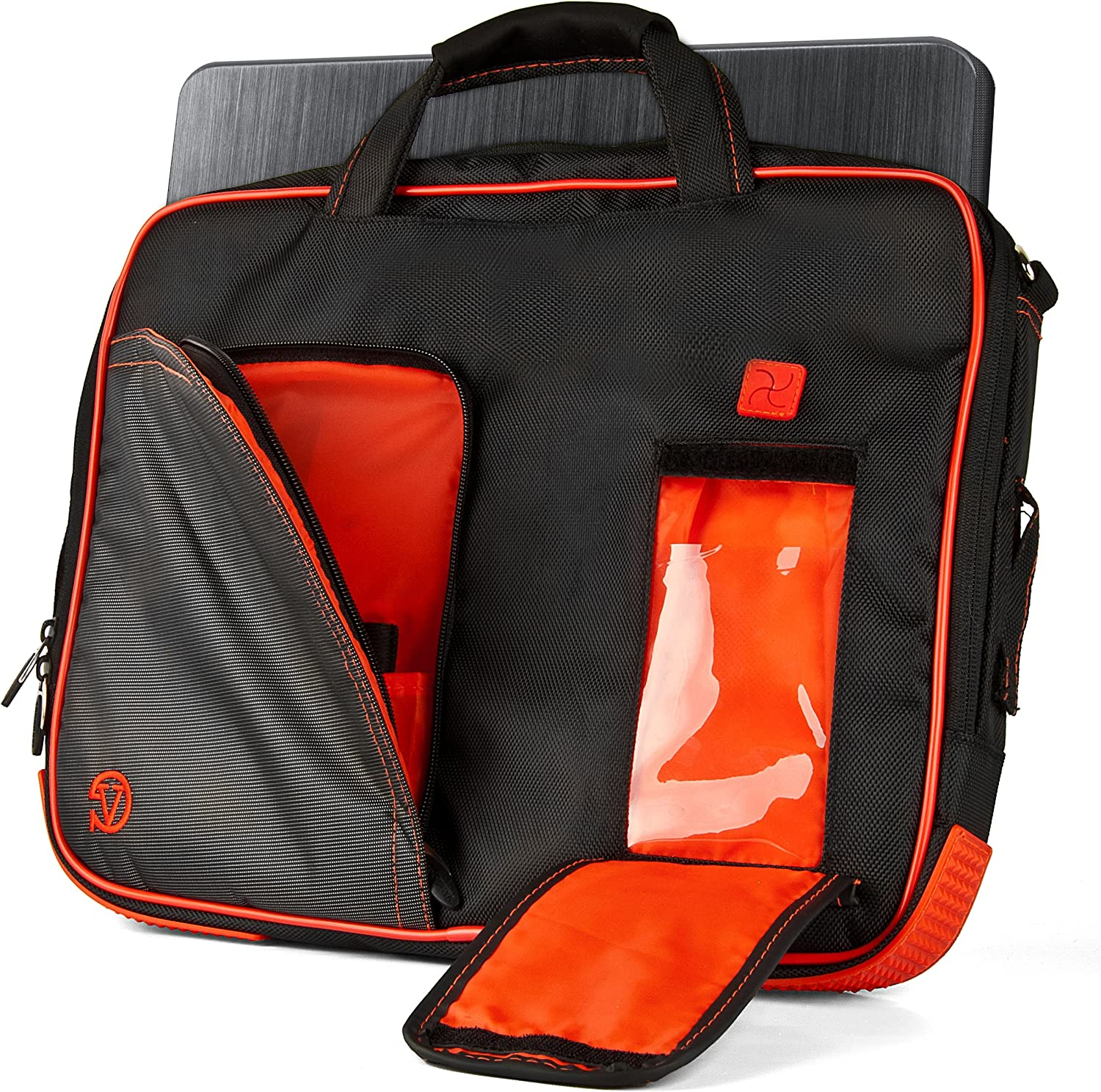 Pindar Briefcase + Messenger Bag for 15 to 17.3 inch Laptops and Tablets with Removable Shoulder Strap - Black/Bright Red