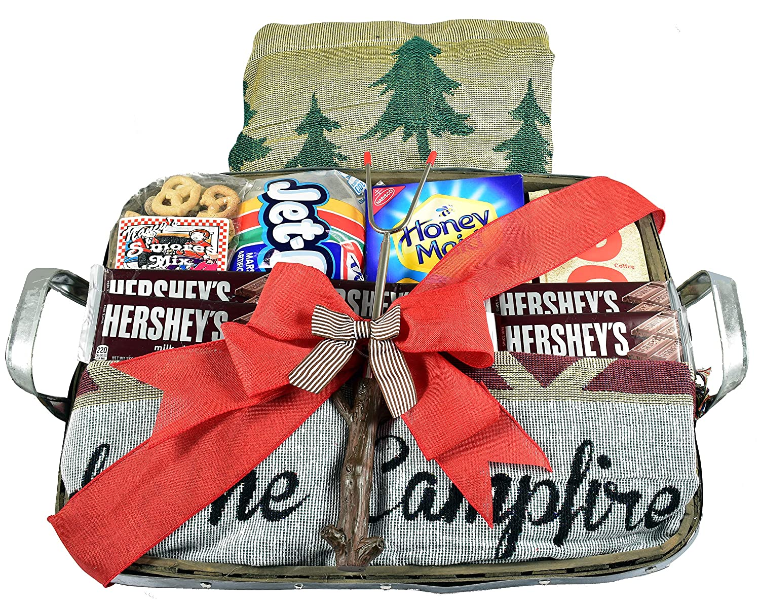 Gift Basket Village Campfire Christmas Basket with Winter Blanket and S'mores Making Kit in Designer Wood and Metal Serving Tray