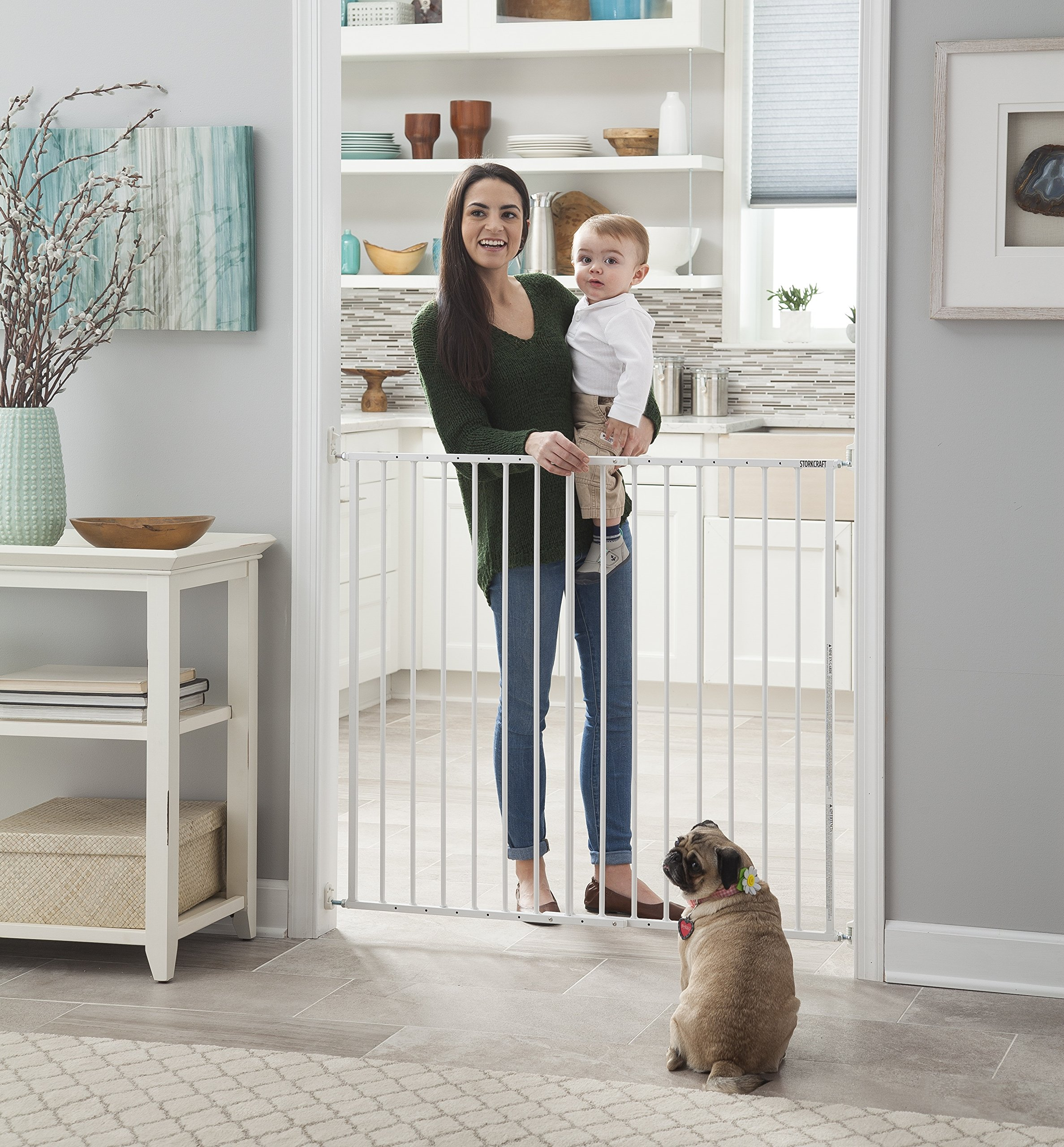 Storkcraft Easy Walk-Thru Tall Metal Safety Gate, White Adjustable Baby Safety Gate For Doorways and Stairs, Great for Children and Pets by Stork Craft (Image #3)
