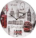 "Londres, Angleterre Horloge murale Scène - 12 ""Diamètre"