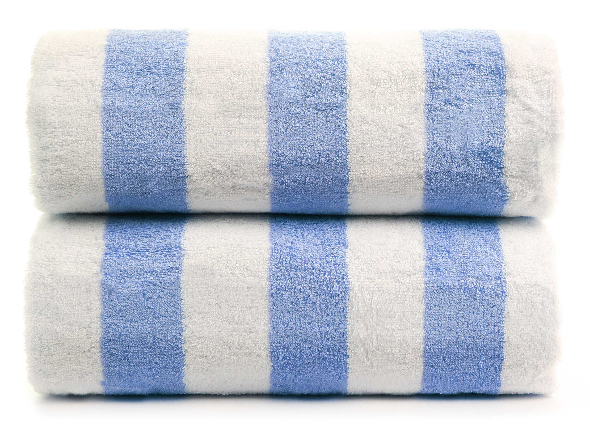 Premium Quality Large Hotel and Spa 2-Piece Beach Towels, Pool Towels with Cabana Stripe, Eco-Friendly, Turkish Cotton (Blue, 30x60 inches)