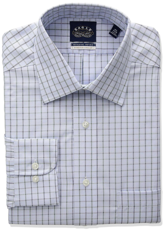 Eagle Mens Stretch Collar Regular Fit Windowpane Check Dress Shirt Eagle Dress Shirts 1123291
