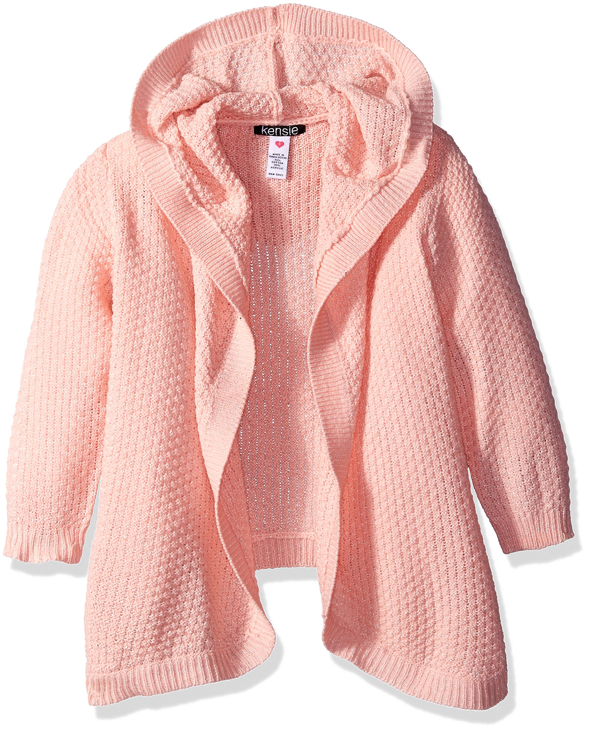 Kensie Big Girls' Cardigan Sweater (More Styles Available), Peach, 14/16