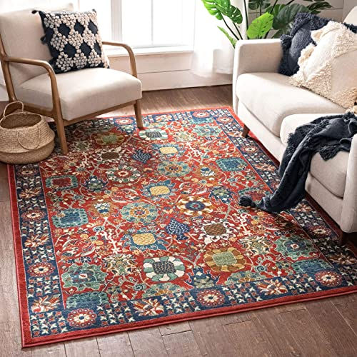 Well Woven Marla Red Traditional Floral Area Rug 5×7 5 3 x 7 3