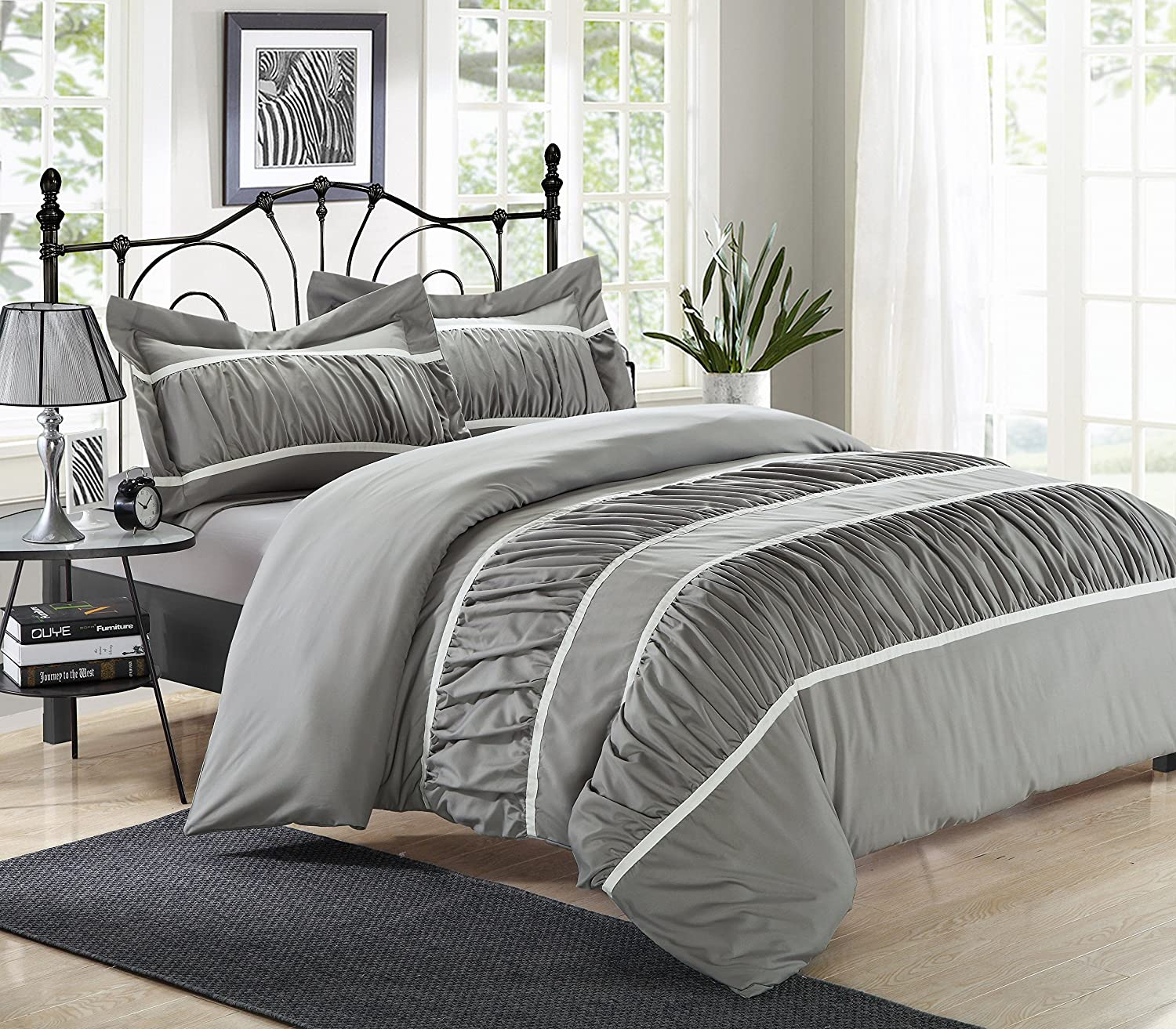 Perfect Home 3 Piece Britney Pleats and Ruffled Duvet Cover Set