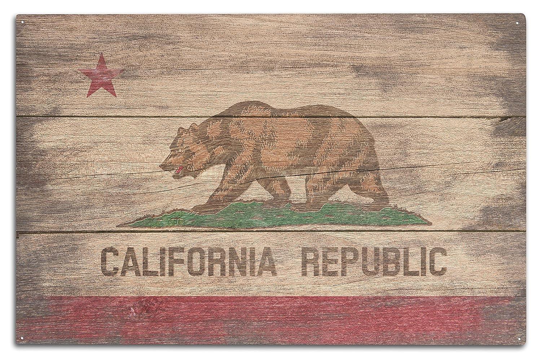 (10 x 15 Wood Sign) - Rustic California State Flag (10x15 Wood Wall Sign, Wall Decor Ready to Hang) B0736CD32B  10 x 15 Wood Sign