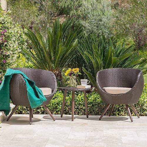 GDF Studio Patio Furniture 3 Piece Outdoor Modern Wicker Conversation Chat Set