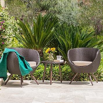 GDF Studio Patio Furniture ~ 3 Piece Outdoor Modern Wicker Conversation  (Chat) Set