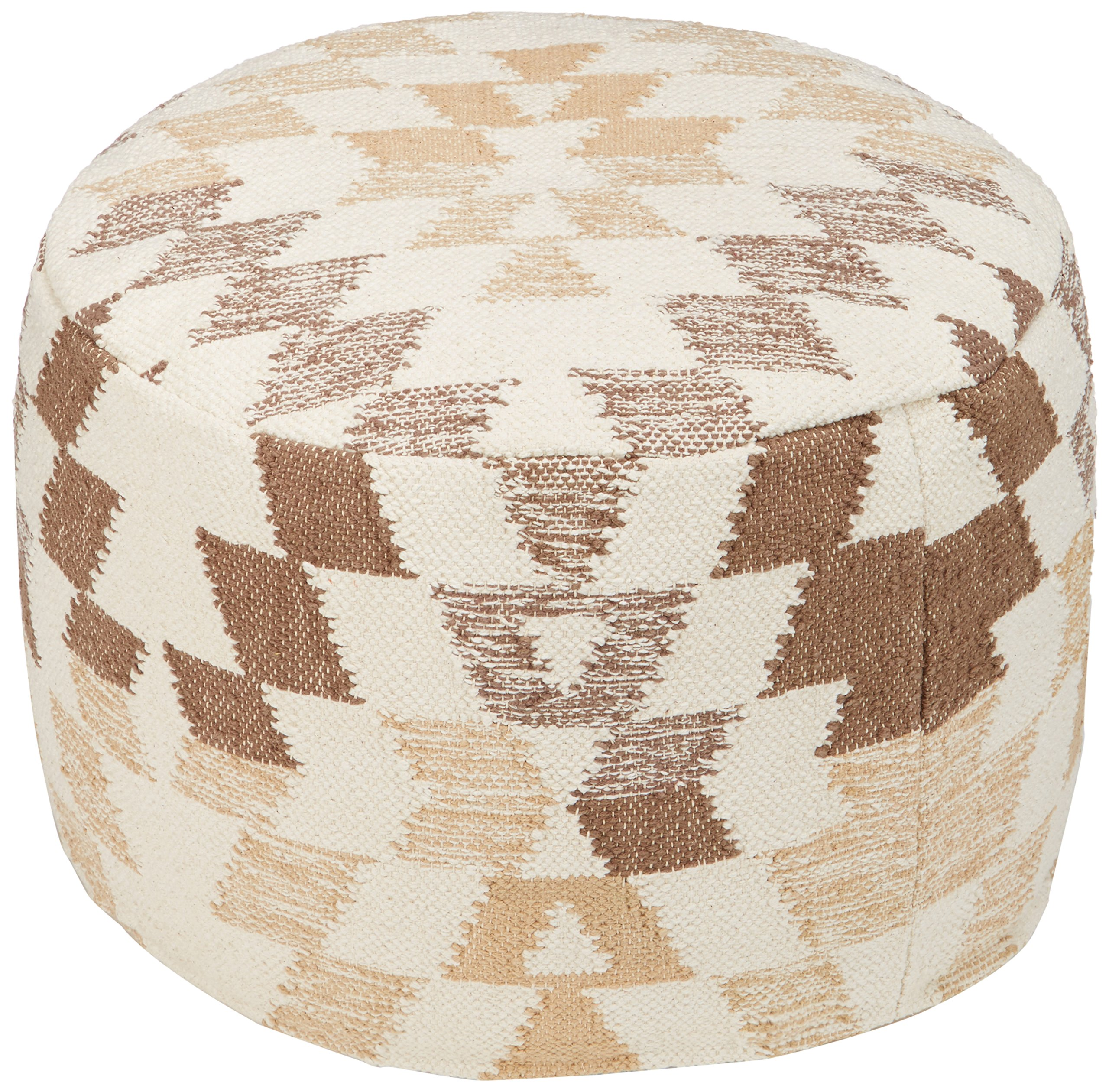 Ashley Furniture Signature Design - Abraham Pouf - Handmade - Imported - Traditional - White and Brown by Signature Design by Ashley (Image #2)