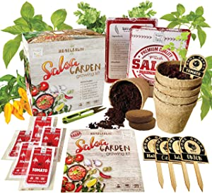 Indoor Salsa Vegetable Garden Seed Starter Growing Kit - USDA Organic Non GMO Gardening Gifts
