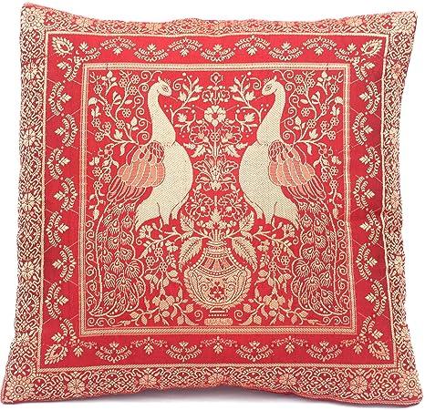 Funda de almohada de seda roja con patrón de pavo real ...