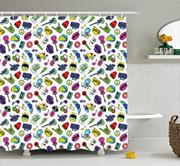 Emoji Shower Curtain By Ambesonne Colorful Fun Music Themed Pattern With Instruments Cassettes Boombox Hand