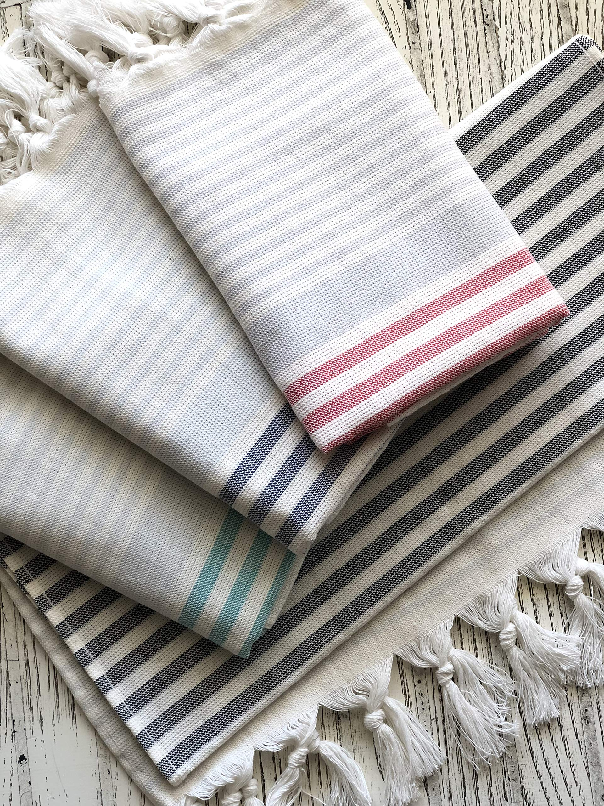 Trend Set of 4 Turkish Hand Towel, Gym Towels, Kitchen towel set, face towels 100% Cotton Size 18'' x 36'' (45cm x 90cm) Peshtemal Decorative Bathroom (Natural Variety, Pack of 4) Hand-loomed Natural Di