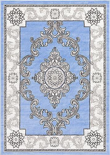 Well Woven Geometric Yonderhill Modern Medallion Blue Distressed Area Rug 3 3 x 5