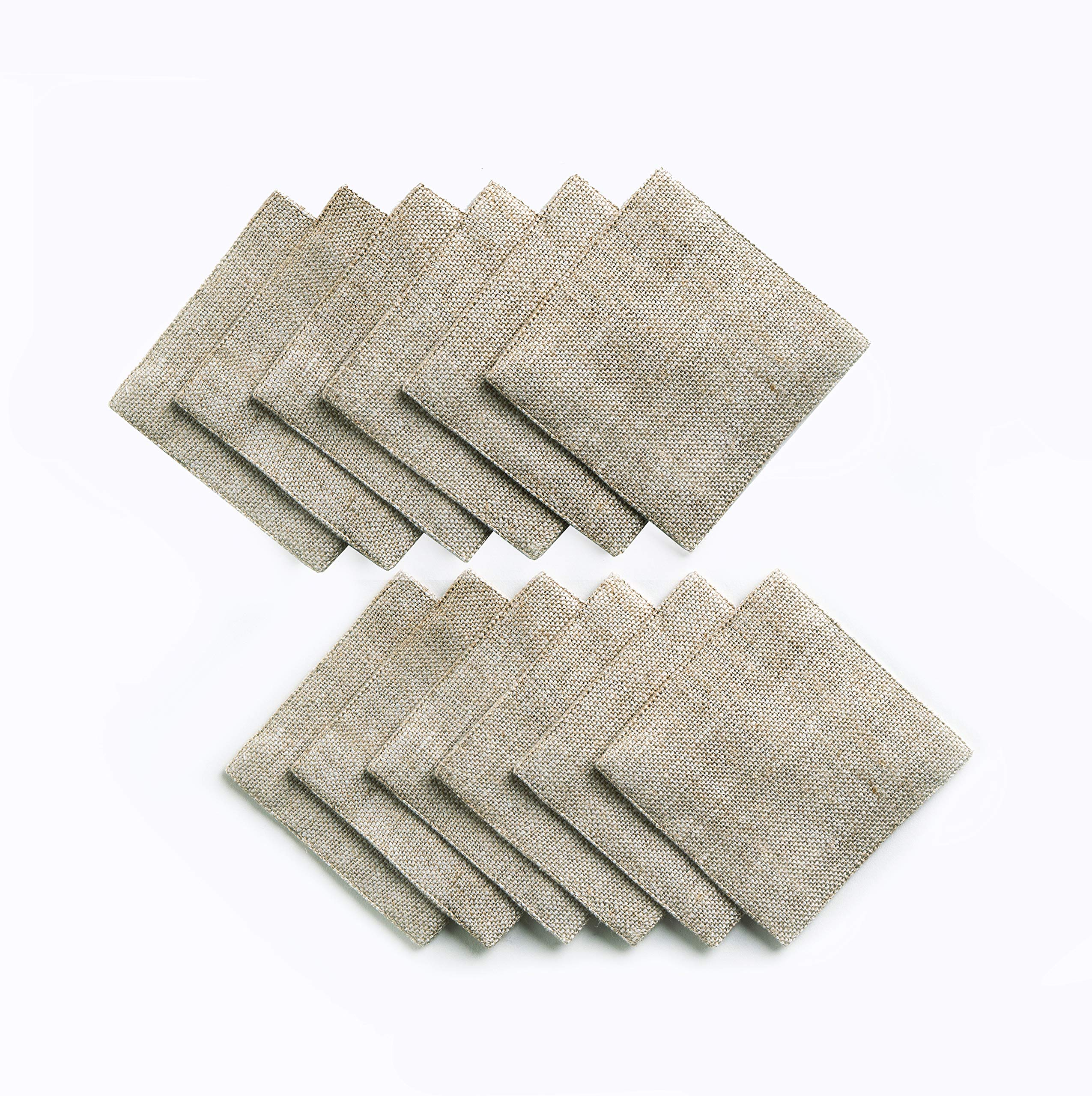 Solino Home Rustic Linen Coasters - 4 x 4 Inch, Set of 12 Handwoven and Handcrafted - Natura Collection, Light Soil Coaster