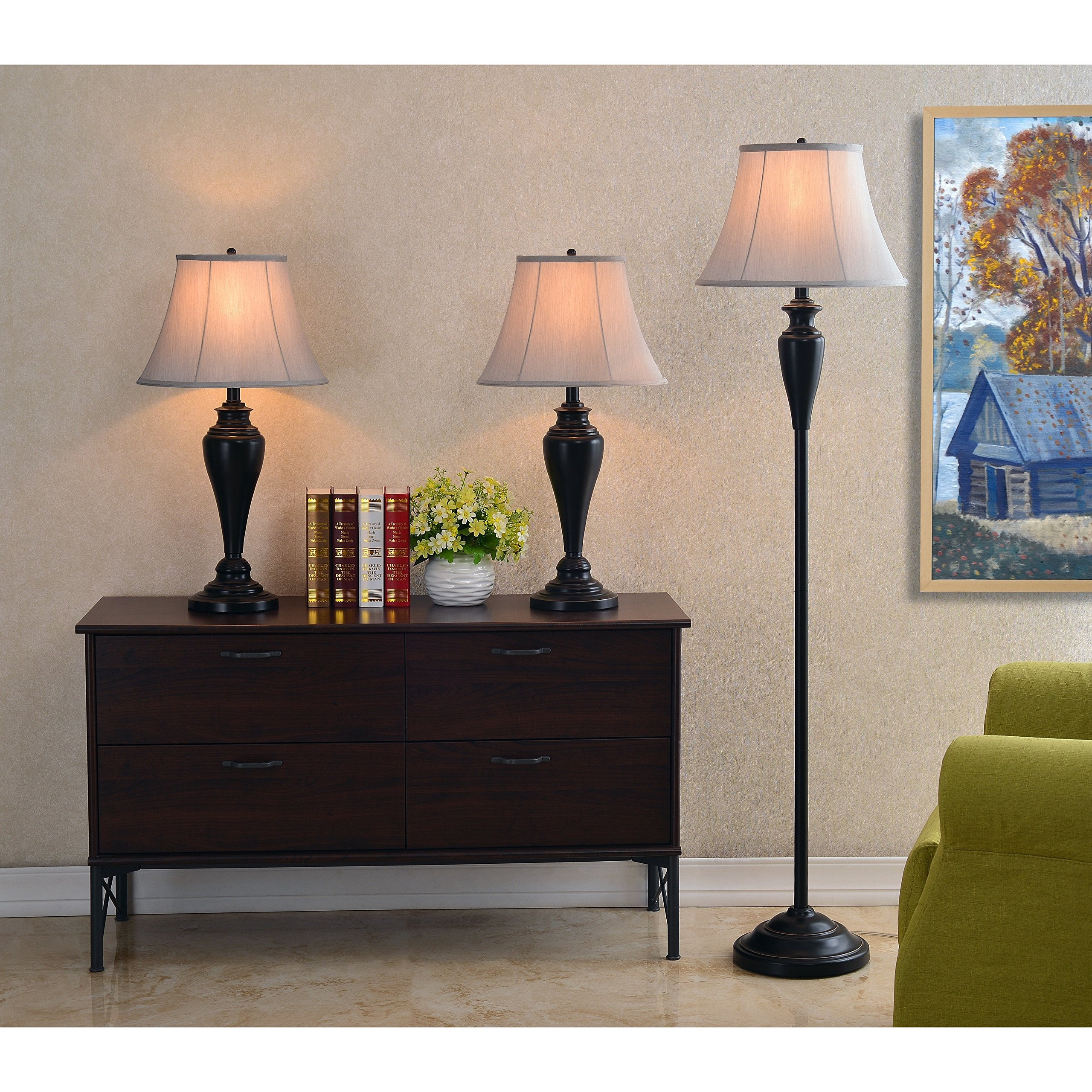 Design Craft Gerald Oil Rubbed Bronze 3-piece Lamp Set by Design Craft
