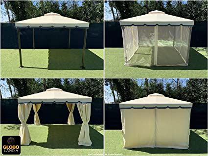 Cenador de jardín, 3 x 3 m, en aluminio, con cubierta de 450 gImpermeable, con mosquitera y cortinas laterales., crudo con rayas: Amazon.es: Jardín