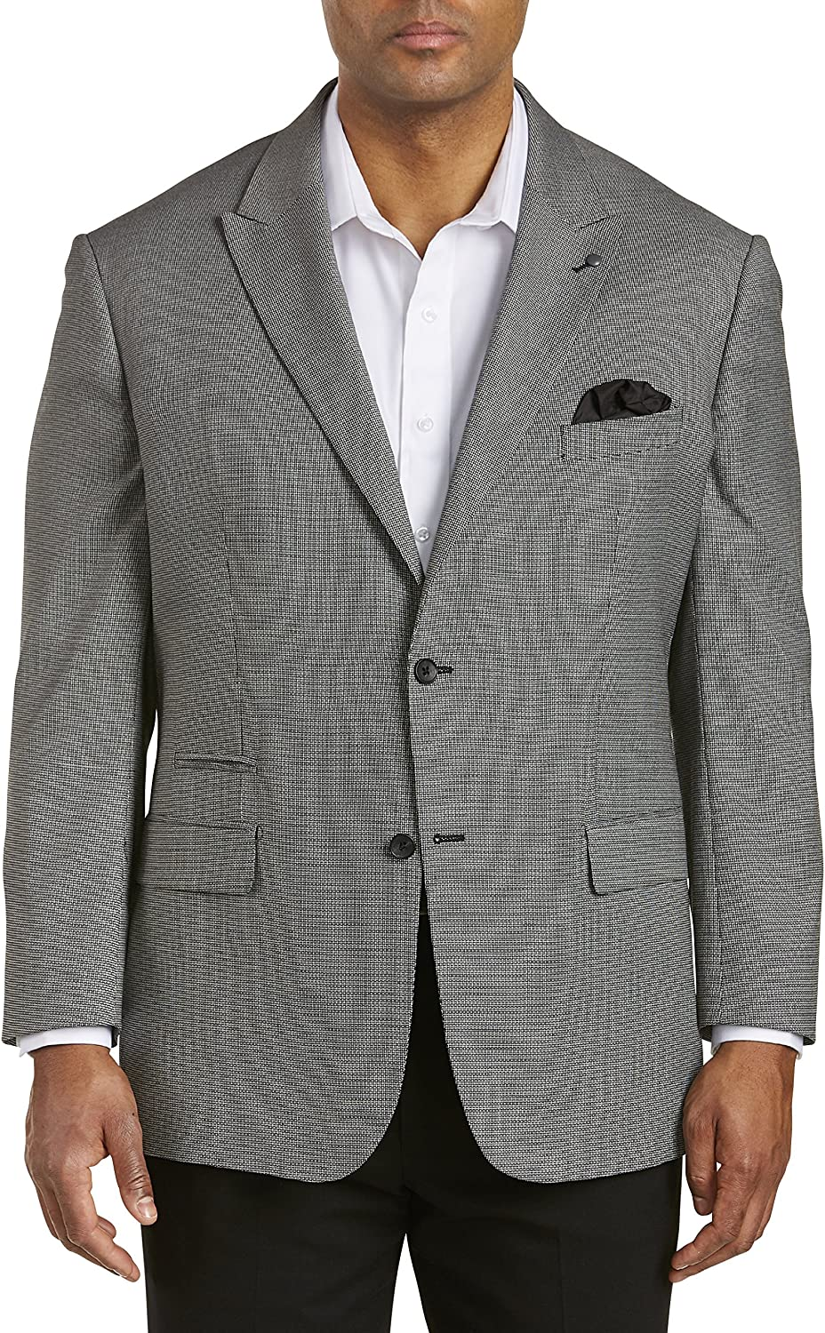 Synrgy by DXL Big and Tall Jacket-Relaxer Performance Bone-Weave Sport Coat Black