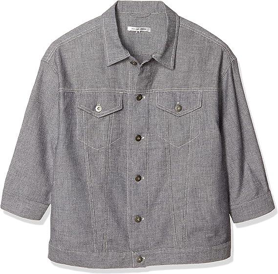 [サジェスション] デニムジャケット SUGGESTION 綿麻ストレッチ ドビー 7分袖Gジャン メンズ