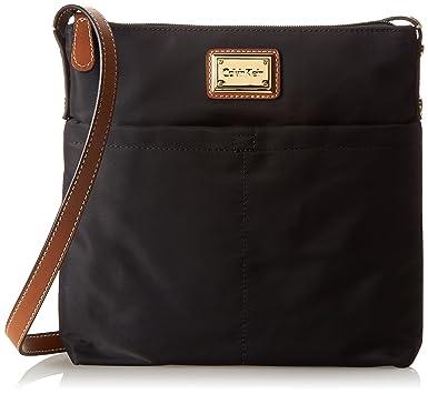 0e4a13f27d1 Calvin Klein Nylon Cross Body, Black/Gold, One Size: Handbags ...