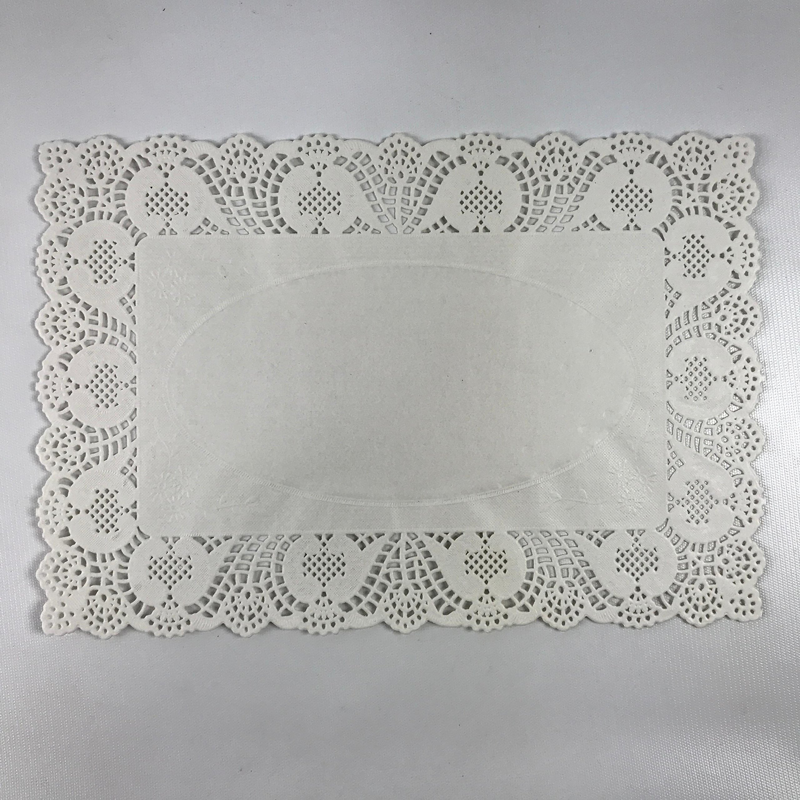 (Pack of 50) Black Cat Avenue 10'' x 14 1/2'' Disposable White Rectangular Lace Paper Doilies