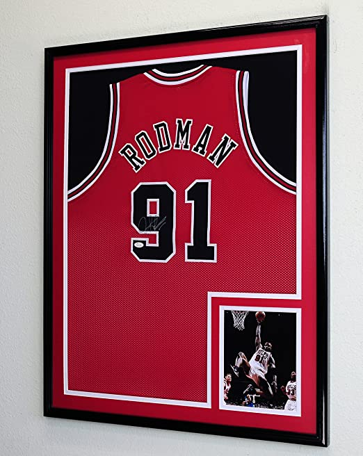 9ae740e40c9 Amazon.com   XL Double Matted Custom Framed Jersey Display Case Frame w 98%  UV Protection (Black Wood Finish